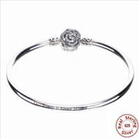 Authentic 925 sterling silver Rose Beauty and the Beast bracelet Fit Original panqiou For women bracelet Bangle DIY Jewelry
