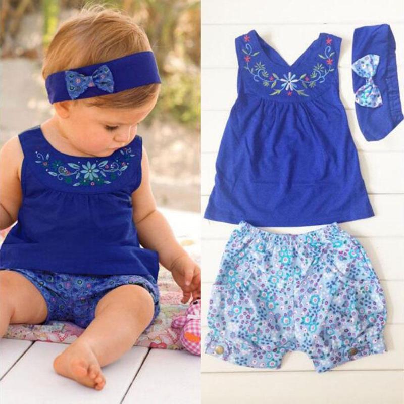 Baby girls Clothes Set Newborn Cotton Clothing Suit Baby girls clothing sets Summer Shirt Pants headband set Infant Clothes D25