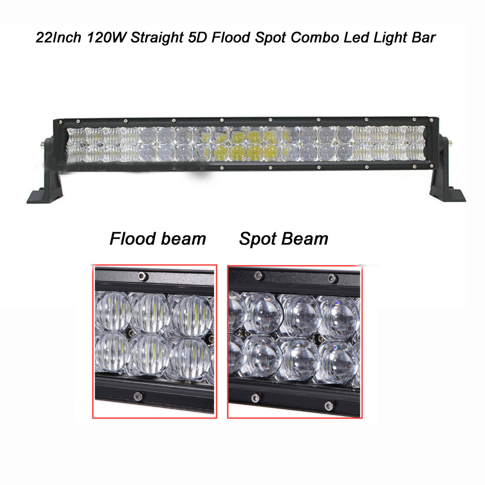 ФОТО Straight 22 Inch 120W 5D CREE Led Light Bar Combo Beam IP67 12000LM for Off road 4wd SUV UTE ATV Boat with Mounting Brackets