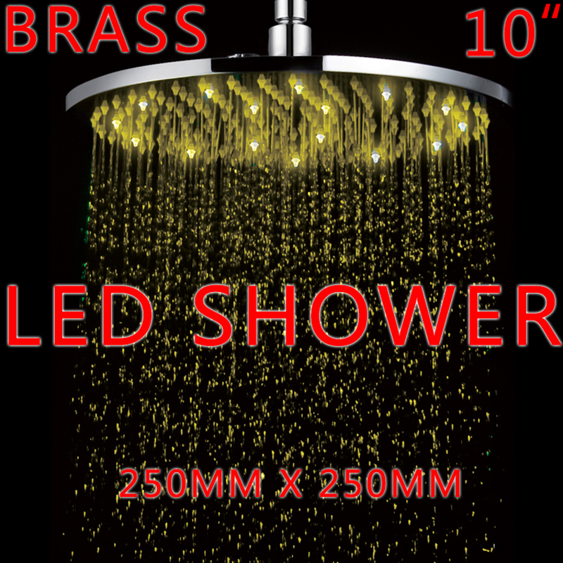 Superfaucet 10Inch BRASS LED Shower Rain Shower LED Temperature Control Water Shower Head Rainfall HG-5103RG freeshipping brass 10 inch led shower head led shower temperature led water led bathroom faucet shower