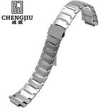 Tungsten Steel Strap Men Watch Strap For Rado 13 21mm Silver Watches Band Deployment Buckle Metal Bracelets Belt Montre Maculino
