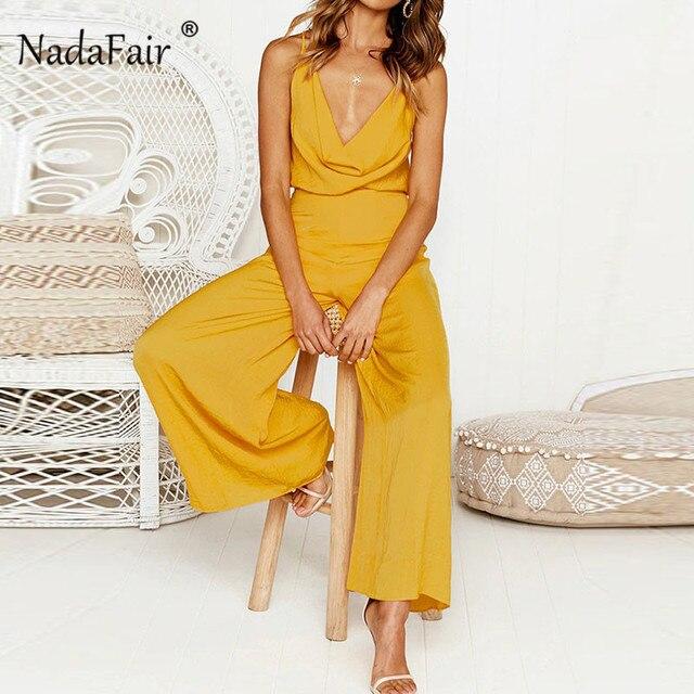 09fb9854e64a Nadafair High Waist Summer Jumpsuit Women Hollow Out Sleeveless Wide Leg  Rompers Yellow Pink Backless Sexy