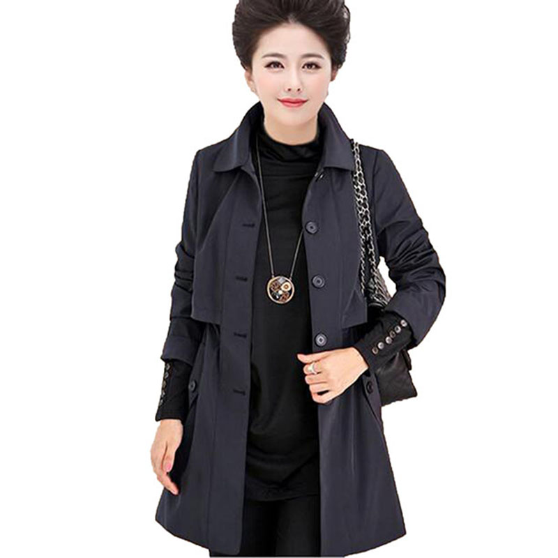 Mother Plus Size Navy Coat Female 2017 Autumn new Windbreaker Women European Trench Coat in the elderly windbreaker LU185