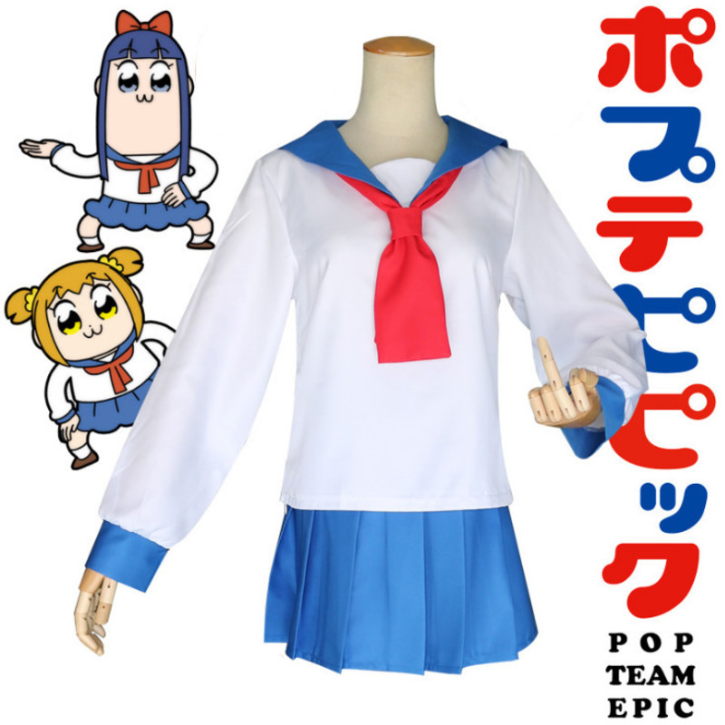 Pipimi  Popko Cosplay Sets POP TEAM EPIC Costume Play Sailor Suit Japanese style Student Halloween Costumes