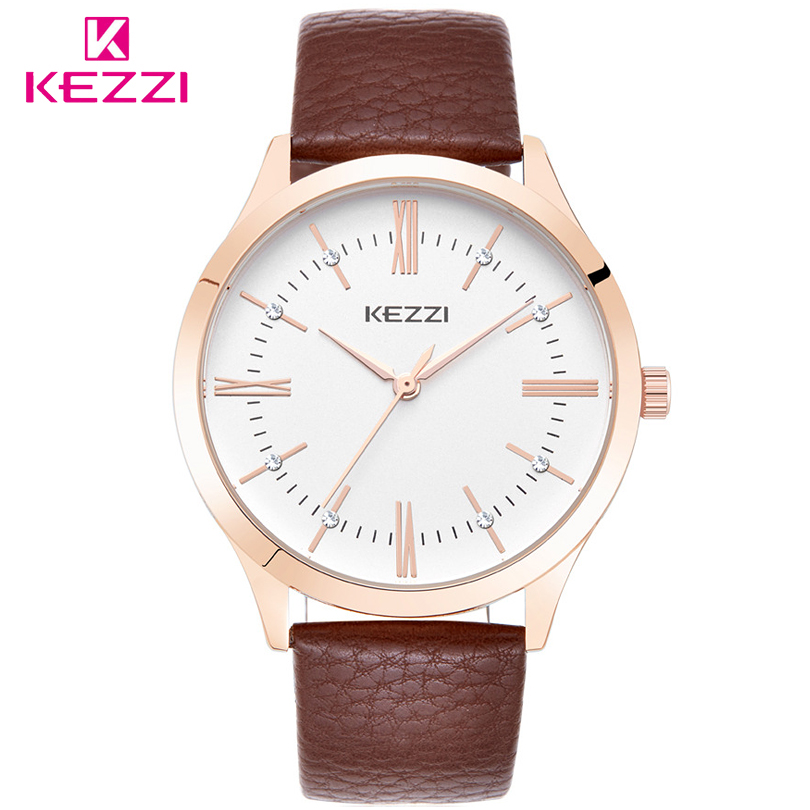 KEZZI Couple Watches Brand Luxury Quartz Leather Strap Watch Man Fashion Casual Couple For Lovers Mens Women Ladies Clock 2017 new couple watches lovers guanqin brand quartz watch women round leather fashion casual men wristwatches female sport watch