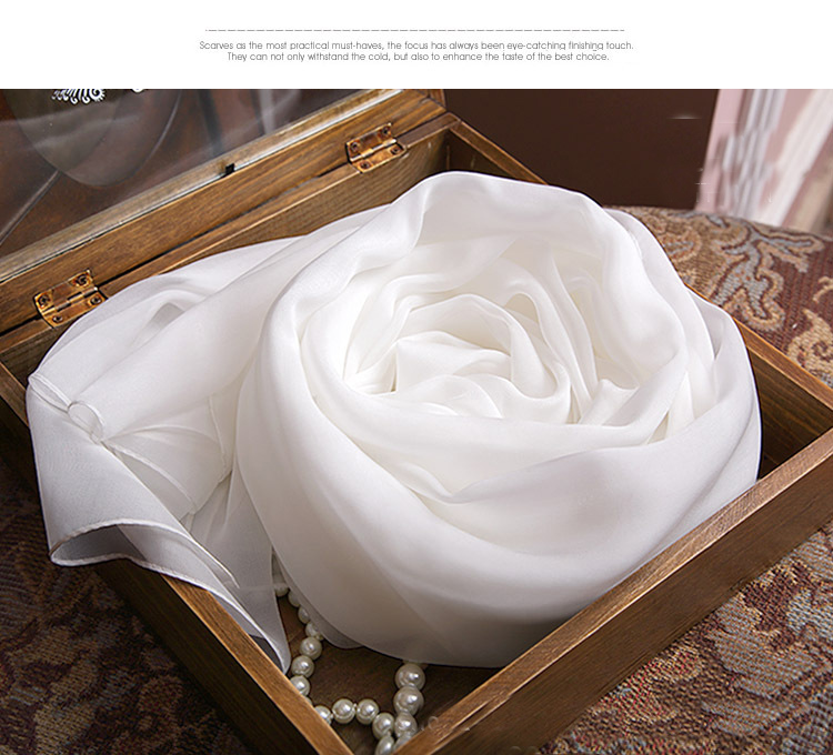 100% Pure Silk Women Scarf White Color Luxury Brand Silk Scarves