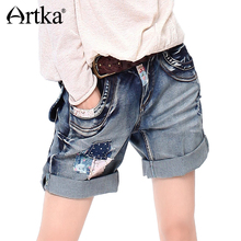 ARTKA Women's Summer Patchwork Straight Denim Shorts Vintage Bow Pockets Decoration