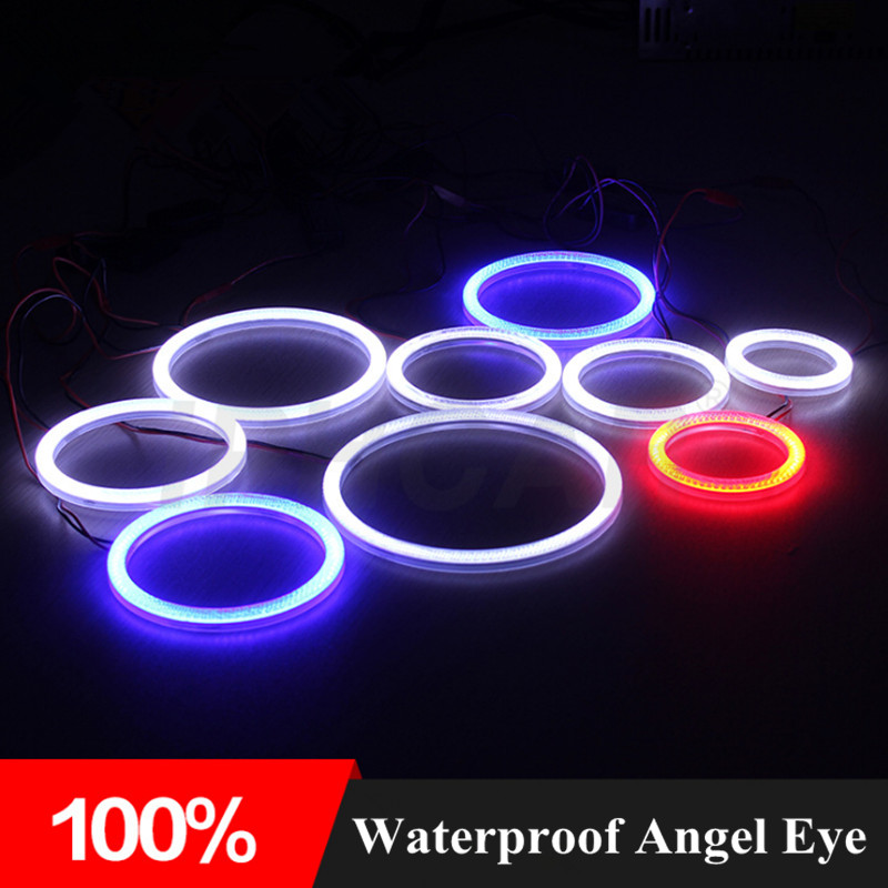 2pcs/Lot,65/75/85/90/95/100/105/120/140mm Waterproof COB Angel Eye Car LED Halo Ring For Projector Lens Shroud Car Headlight 65 95 55mm waterproof case