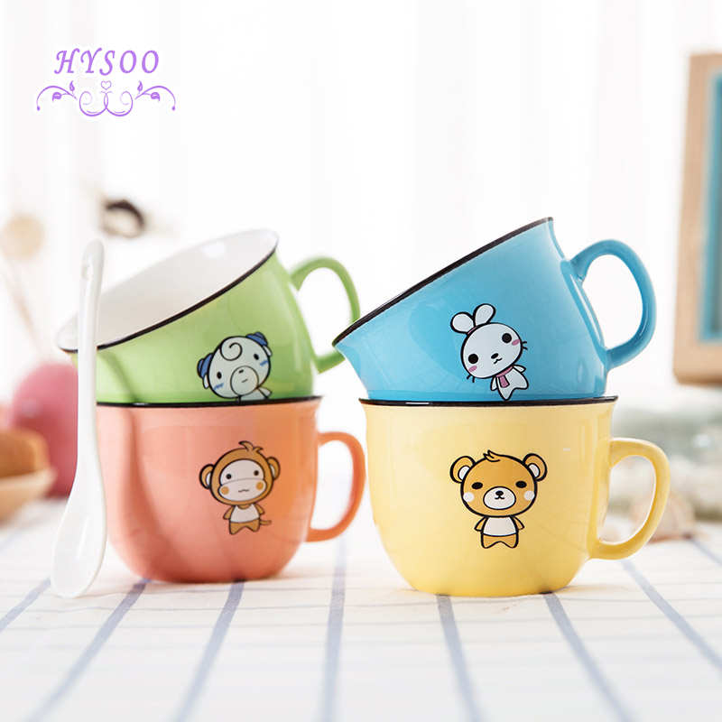 Ceramic coffee cup Creative with spoon mugs Home cartoon cups Ceramic cups Milk cups