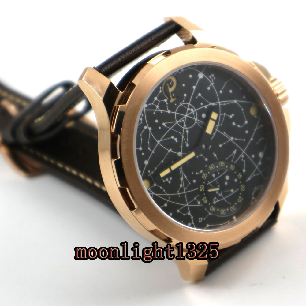 2017 nowy 44mm męskie parnis konstelacji rose pozłacane przypadku skóry szkła szafirowego Luminous 6498 ręcznie nakręcany uhr zegarek w Zegarki mechaniczne od Zegarki na  Grupa 3