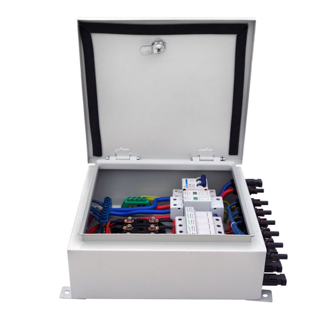 6-String Solar PV Combiner Box W Circuit Breakers Surge Lightning Protection