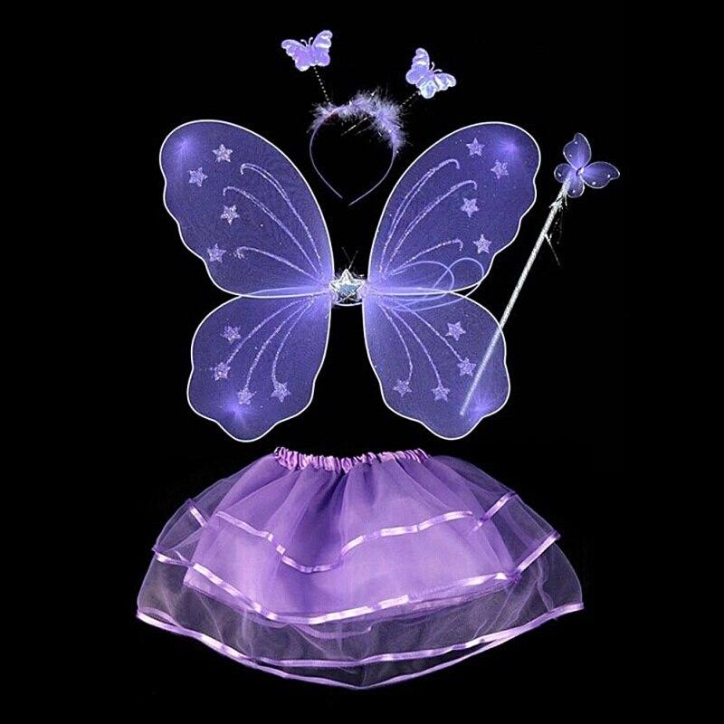 Fairy Princess Kids Costume Sets Butterfly Wings Wand Headband Tutu Skirts 4Pcs