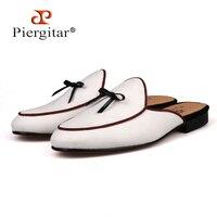 Piergitar/Брендовые мужские парусиновые тапочки белого цвета с черным кожаным галстуком, мужские вечерние Лоферы больших размеров