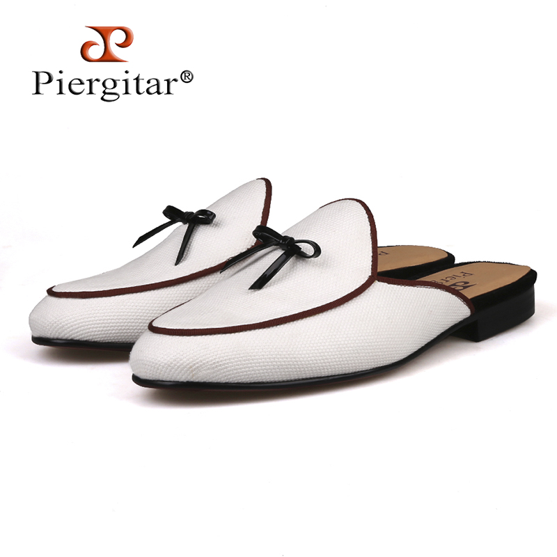 Piergitar brand white colors Canvas men slippers with black leather tie Half designs men's loafers for party and prom plus size fashionable tartan pattern 5cm width black and white tie for men