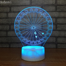 Ferris Wheel 3D LED Table Lamp Baby Touch Colorful 7 Color Change Acrylic Night Light Home Bedroom Decor Kids Christmas Gifts недорого