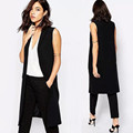 Black Fashion Sleeveless Jackets Vests For Women 2017 Office Lady Elegant Long Waistcoat Outerwear Casual brand Colete Feminino