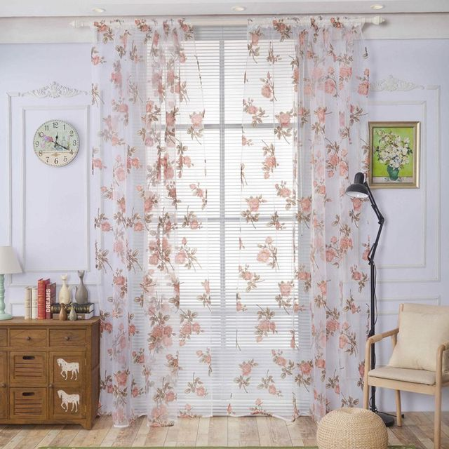 Home Europe Style Curtains Gingko Leaf Pattern Tulle Curtains ...