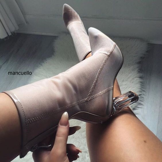New Arrival Women Nude Stretch Fabric Transparent Block Heels Ankle Boots Sexy Pointed Toe Back Zip Chunky Heel Short Boots new arrival superstar genuine leather chelsea boots women round toe solid thick heel runway model nude zipper mid calf boots l63