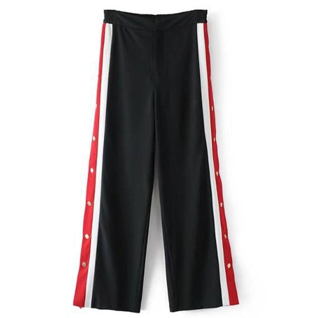 96b222e5494 ANSFX Stylish Black Red Contrast Color Stripe Slit Side Buttons Wide Leg  Pants Woman Back Elastic