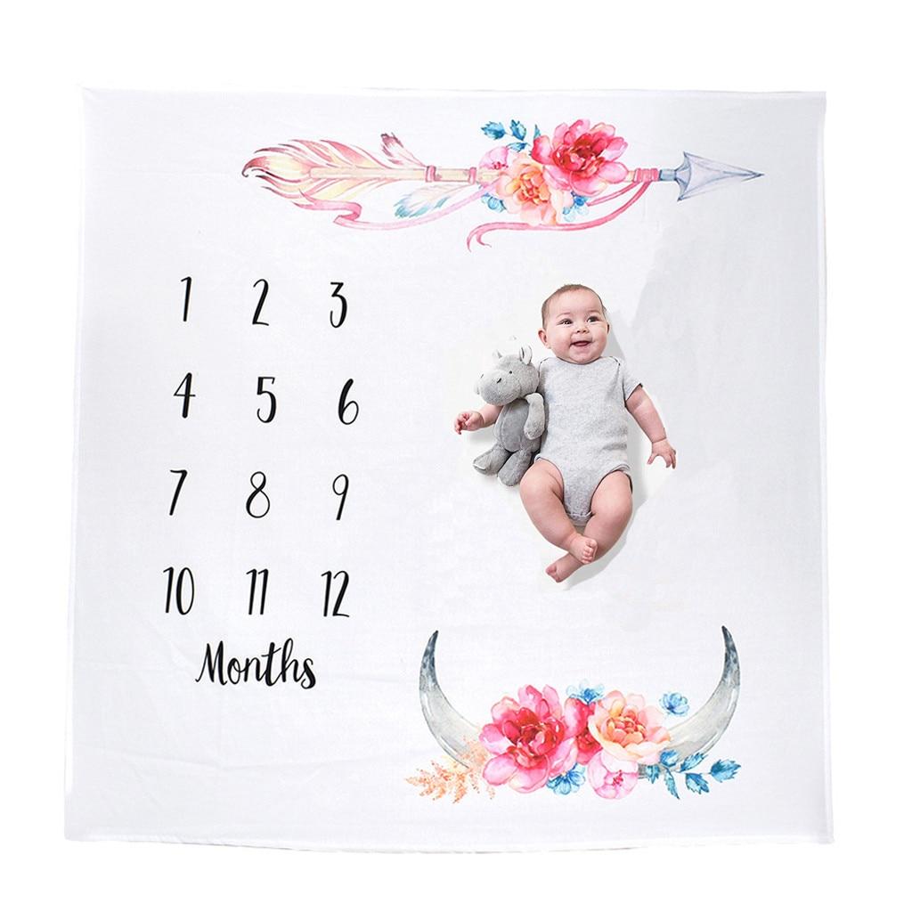 Newborn Baby Number Angel Wing Monthly Milestone Blanket Photography Prop Shoot
