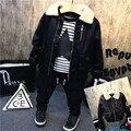 Nueva marca niños de la manera de LA PU cuero de la motocicleta chaqueta de otoño invierno de los cabritos outwear niños abrigo fresco bebé camiseta ropa