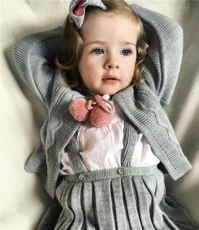 Baby Girl Sweater Cardigan Kids Girl Knitted Suspender Skirt Set Infant Strap Braces Skirt sueter infantil little girl jumper цены