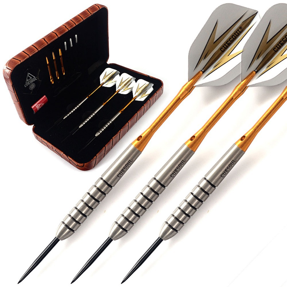 CUESOUL 19 Grams Tungsten Steel Tip Darts Set With Golden Shaft & Luxuy Brown Case