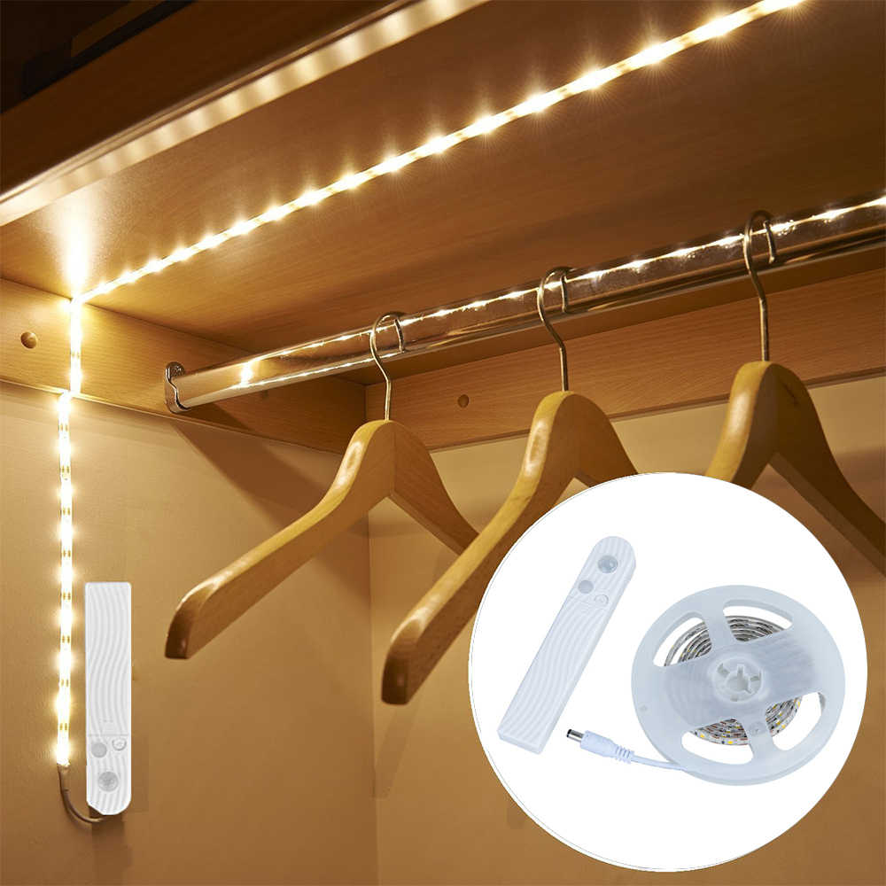 Wireless PIR Motion Sensor USB LED Strip Closet Cabinet Bedroom Night Light For Wardrobe Kitchen TV Backlight Lighting 1M 2M 3M