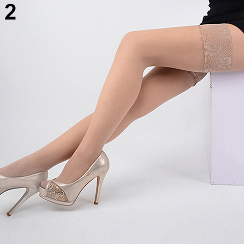 Sexy Women's High Stockings Lace Top Silicon Strap Anti-skid Thigh Nightclub Medias De Mujer Stockings Female Erotic