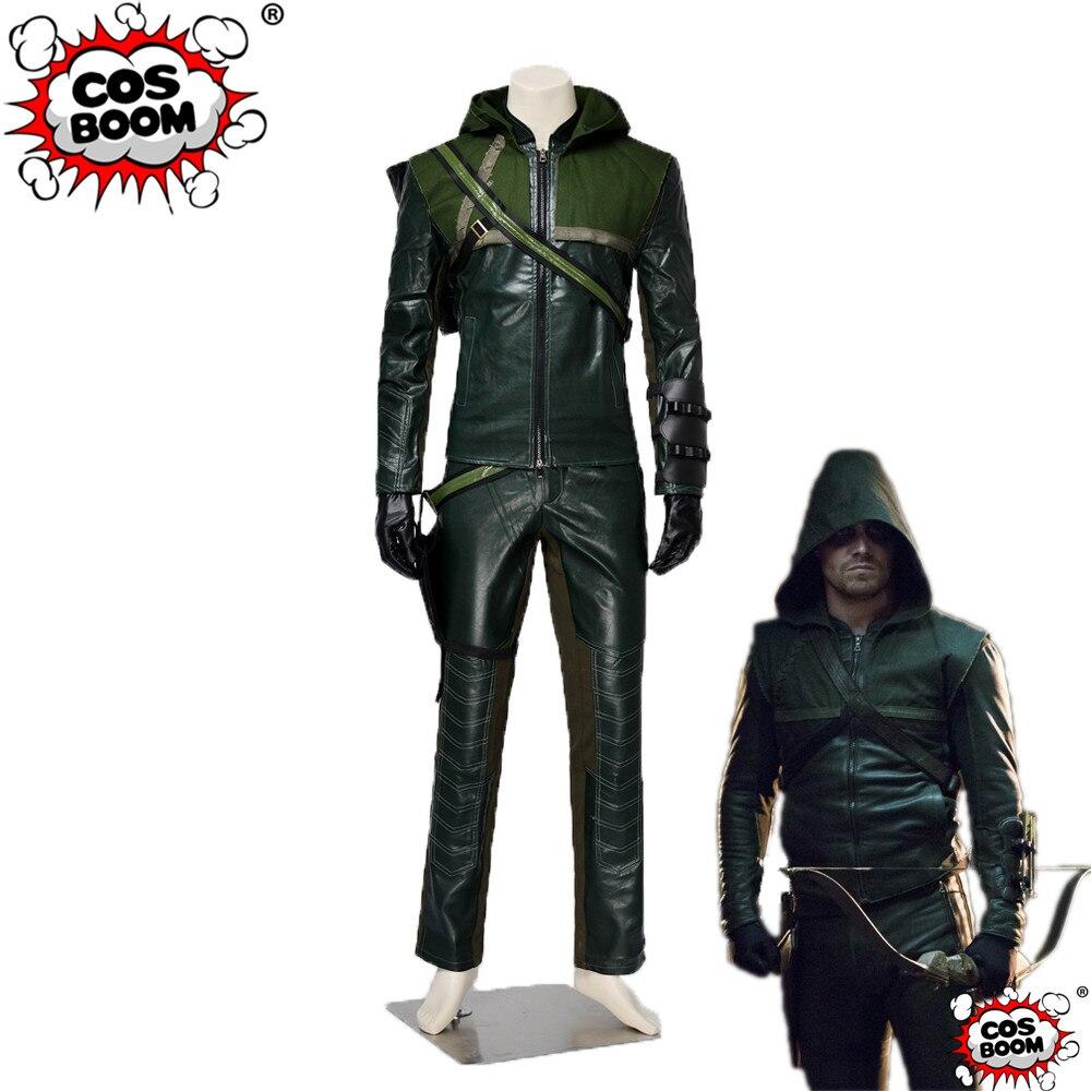 COSBOOM Arrow Season 1 Oliver Queen The Hood Costume Men's Green Arrow Outfit Halloween Superhero Cosplay Costume