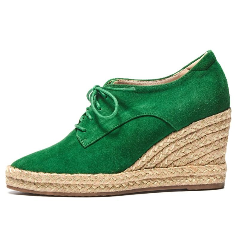 Black Semelles Cuir Boîte 2 Paille De Haute up Vert Cales D 205 Dentelle Pompes forme Plate Femmes D'emballage Véritable Épaisses 8 Cm Talon green Chaussures PgxzHzw
