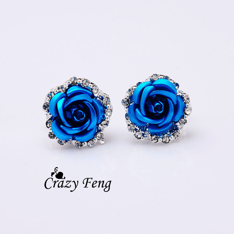 Brincos Hot sale Fashion New Women's/Girl's Austrian crystal 6 Colors Stud Earrings Jewelry one pair Free shipping women gifts