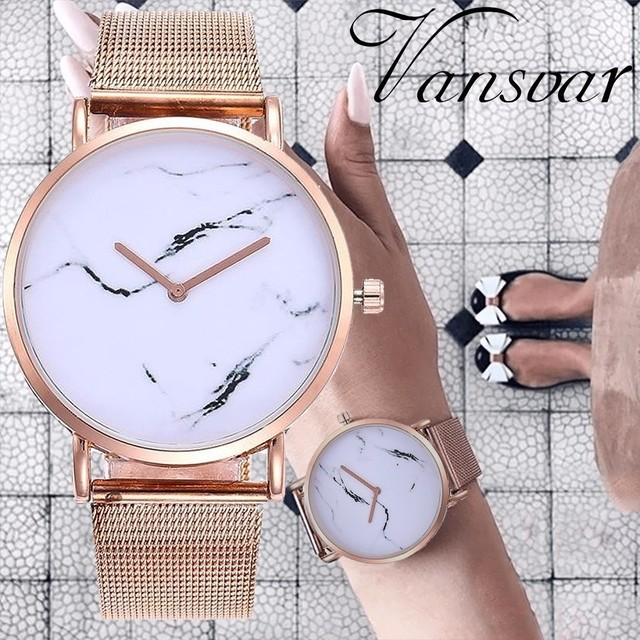 Vansvar Brand Creative Marble Quartz Watches Casual Fashion Women Stainless Stee