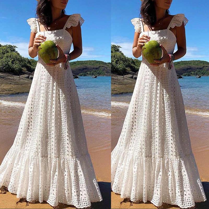 216f2be185942 Bohemian White Lace Dress Boho Beach Dresses Chic Women Maxi Dress Womens A  Plus Size Summer Long Wear Large Sizes 2019 Frocks