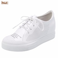INOE 2017 New Fashion Style Genuine Leather Women Spring Summer Shoes Flats Hidden Heel Shoes White