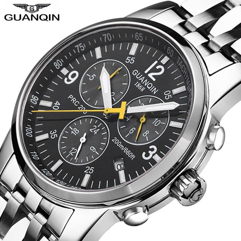 GUANQIN Sport watches men Top brand luxury Swimming Automatic Watch men Calendar 200m Waterproof Luminous Week