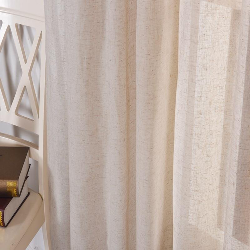 3*2.6 cm Style américain lin couleur rideaux pour salon chambre hôtel Tulle Translucidus balcon décor Voile pure Cortinas