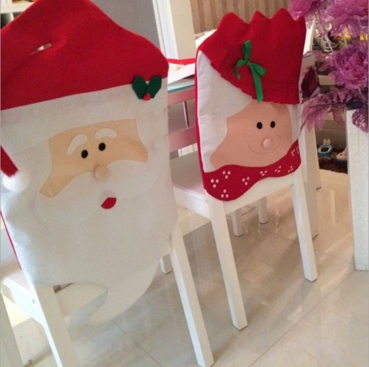 product 2pcs/set Christmas decorations red chair sets of non-woven Christmas chair cover tabel decoration