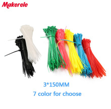 Free shipping 3*150mm Colorful nylon cable ties wire tie Self-Locking plastic zip 100PCS/Bag