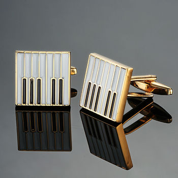 DY new high quality brass musical instruments Sax trumpet drum piano violin music symbol French shirt Cufflinks 1