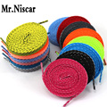 LEO 2 Pair Flat Striped Shoelaces Athletic Sport Colored Shoe Laces for Sneakers String Slant Stripe Shoestring Tie 120-140 cm