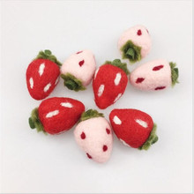 PINJEAS Wholesale 10PC Wool Felt Strawberry Decorations DIY Wall Decorations Christmas Kid's Room Decor Bed Best Gifts For Baby(China)