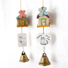 Modern brief charm four-leaf flower resin small house wind chimes hangings copper bell door trim