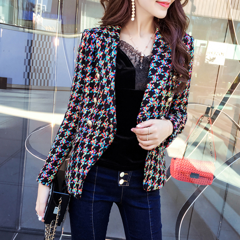 New the wind jacket spring joss tweed jacket temperament slim double breasted suit small цена