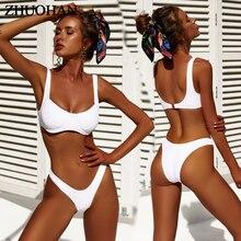 Сплошной пуш-ап высокая талия плечевой ремень бикини 2019 Mujer Сращивание высокого качества костюм пляж Простой летний купальный костюм для женщин