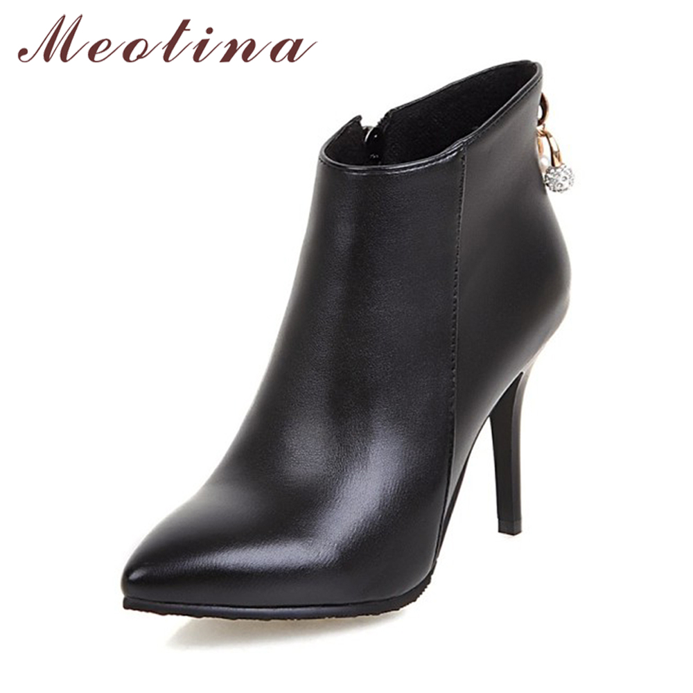 Meotina Women Boots Ankle Boots for Women 2017 Winter High Heels Short Boots Rhinestone Ladies Shoes Zip Red White Size 44 45 11 meotina new shoes women boots high heels ankle boots pointed toe buckle martin boots zip ladies shoes white big size 44 45 10 11