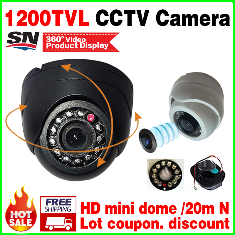 Very Small! 1/3cmos read 1200TVL Mini Indoor Dome Hd Cctv Security Analog Camera IR-cut 12LED Infrared Night Vision 20m vidicon new upgrade 48led 1200tvl hd cctv camera cmos analog pal or ntsc security vidicon infrared night vision dome indoor home video
