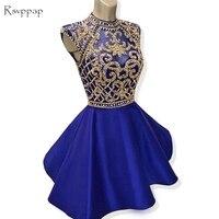 Блестящие Короткие Homecoming платья 2018 A Line Высокая шея Cap рукавом бисером спинки Королевский синий 8th класса Выпускные платья