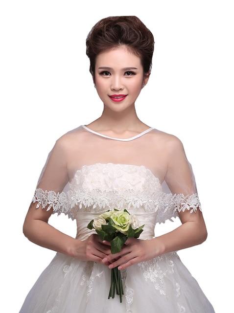 Crocheted White Sheer Organza Bridal Bridesmaid Cape Shrug Poncho Bolero Jacket Shawl For Weddings Shoulder Cloak