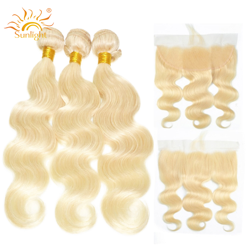 613 Body Wave Hair Bundles with Frontal Sunlight Peruvian Remy Human Hair Weaves Blonde Bundles with Frontal 4*13 Lace Closure